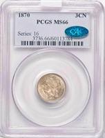 3CN 1870 PCGS MS66 CAC