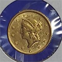 1852 Gold Liberty Head Dollar Type 1