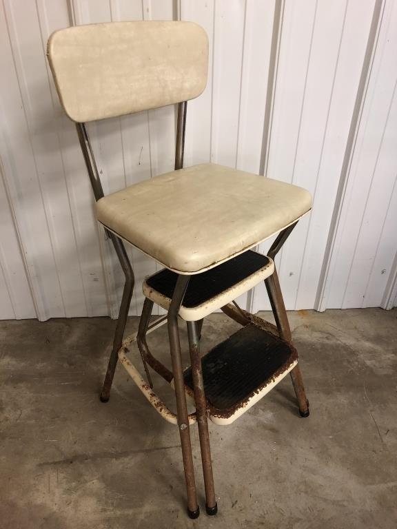Vintage Cosco Kitchen Step Stool Chair, Antique Kitchen Step Stool Chair