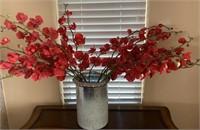 21 - BEAUTIFUL VASE W/ RED FLOWERS