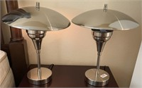21 - PAIR OF BEAUTIFUL SILVER TABLE LAMPS