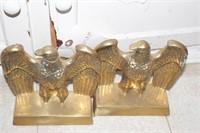 Brass eagle & brass lighthouse bookends