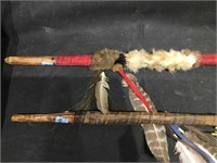 2 Native American style spear shafts