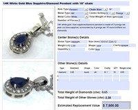 14KT WHITE GOLD 2.30CTS SAPPHIRE AND .65CTS DIA.