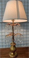 PAIR OF STUNNING TABLE LAMPS W/HANGING CRYSTALS