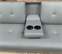 C - NEW BEAUTIFUL COUCH/FUTON W/DRINK HOLDERS