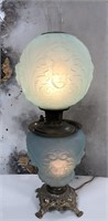 789 - ANTIQUE GONE WITH THE WIND BLUE MANTLE LAMP