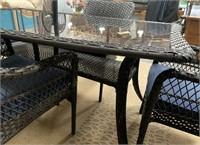 337 - NEW PATIO TABLE W/ 4 CHAIRS & UMBRELLA