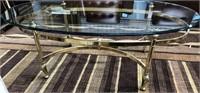11 - BEAUTIFUL GLASS COFFEE TABLE W/METAL BASE