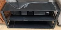 714 - BLACK GLASS 3 TIER TV STAND