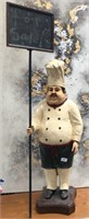 335 - STANDINGCHEF STATUE W/ OR SALE SIGN