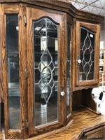 335 - BEAUTIFUL WOOD W/GLASS FRONTS CHINA HUTCH
