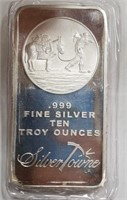 TEN TROY OUNCES .999 FINE SILVER SILVER TOWNE (15)