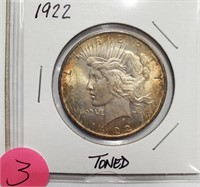 TWO 1922 SILVER PEACE DOLLAR LT TONING & TONED (3)