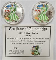 50 - LOT OF TWO 1999 SPRING SILVER AMERICAN EAGLE