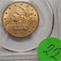 GOLD 1893 $10 DOLLAR COIN MS61 (22)