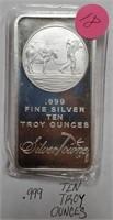 TEN TROY OUNCES .999 FINE SILVER (18)