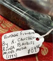 VINTAGE FIGURINE SIGNED K.CANTRELL RIVER BANDITS