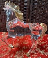 N - STUNNING MURANO HORSE W/GOLD MANE & TAIL