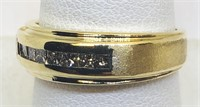 14KT YELLOW GOLD MENS DIAMOND RING 6.10 GRS