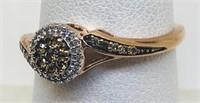 14KT ROSE GOLD CHAMPAGNE/WHITE DIAMOND RING