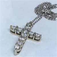 14KT WHITE GOLD 1.00CTS DIAMOND CROSS WITH CHAIN