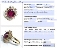 14KT YELLOW GOLD 2.89CTS RUBY AND 1.00CTS