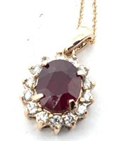 14KT ROSE GOLD 3.43CTS RUBY AND .42CTS DIA.