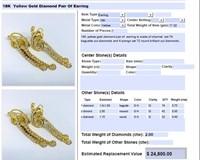18KT YELLOW GOLD 2.00CTS DIAMOND EARRINGS 17.50GR