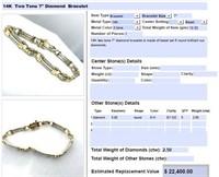 14KT TWO TONE 2.50CTS DIAMOND BRACELET