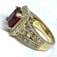 14KT YELLOW GOLD 3.81CTS RUBY AND 1.50CTS