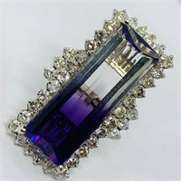 14KT WHITE GOLD 12.50CTS AMETHYST AND 2.42CTS DIA.