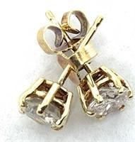 14KT YELLOW GOLD 1.12CTS DIAMOND STUD EARRINGS