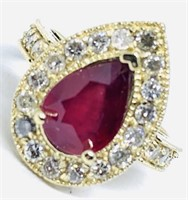 14KT YELLOW GOLD 3.20CTS RUBY AND 1.10CTS