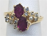 14KT YELLOW GOLD RUBY AND DIAMOND RING 3.50 GRS