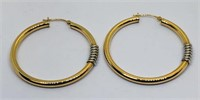 A LARGE 14KT YELLOW GOLD TUBE EARRINGS