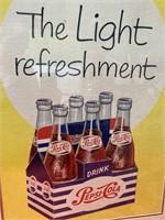 N - VINTAGE FRAMED THE LIGHT REFRESHMENT PEPSI ART