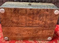 BEAUTIFUL WOODEN BOX W/METAL PAPER TACKED AROUND