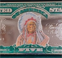 """""""THE CHEIF"""" $5 SILVER INDIAN CERTIFICATE (25)"""