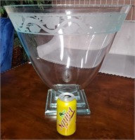 N - VERY LARGE ETCHED GLASS TABLE DECOR BOWL