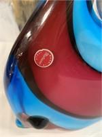 11 STUNNING RED/BLUE MURANO FISH LARGE
