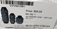 43 - NEW WMC 3PC SET OF CERAMIC VASES ($69.95)