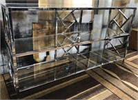NEW WMC NICKEL METAL & GLASS CONSOLE ($309.95)