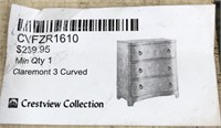 43 - NEW WMC CLAREMONT 3 DRAWER CURVED CHEST