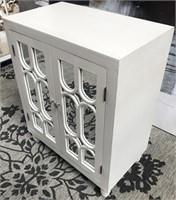 43 - NEW WMC WHITE MIRRORED 2 DOOR CABINET
