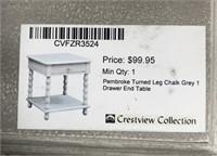 43 - NEW WMC TURNED LEG CHALK GREY END TABLE