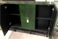 NEW WMC 4 DOOR GREEN SIDEBOARD W/METAL BASE($449.)