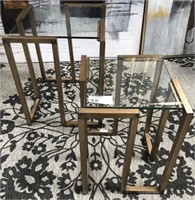NEW WMC ANTIQUE GOLD METAL/GLASS SET OF TABLES