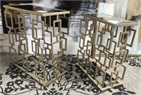 NEW WMC PAIR OF METAL/MIRRORED TABLES ($129.95)