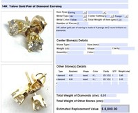 14KT YELLOW GOLD .91 CTS DIAMOND STUD EARRINGS